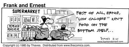 Cartoonist Bob Thaves Tom Thaves  Frank and Ernest 1985-03-27 supermarket