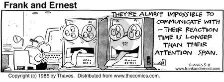 Cartoonist Bob Thaves Tom Thaves  Frank and Ernest 1985-05-08 tech