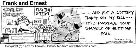 Cartoonist Bob Thaves Tom Thaves  Frank and Ernest 1985-05-27 buying shop