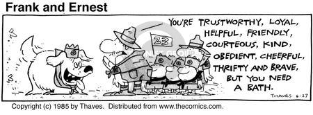 Cartoonist Bob Thaves Tom Thaves  Frank and Ernest 1985-06-27 trustworthy