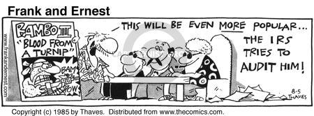 Comic Strip Bob Thaves Tom Thaves  Frank and Ernest 1985-08-05 tax