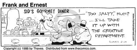 Cartoonist Bob Thaves Tom Thaves  Frank and Ernest 1986-02-24 counter