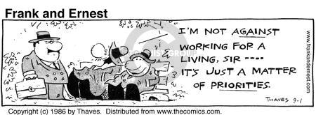 Comic Strip Bob Thaves Tom Thaves  Frank and Ernest 1986-09-01 manager
