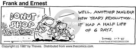 Cartoonist Bob Thaves Tom Thaves  Frank and Ernest 1987-01-07 pastry
