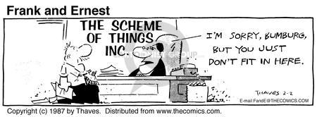 Comic Strip Bob Thaves Tom Thaves  Frank and Ernest 1987-02-02 employee
