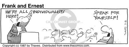 Comic Strip Bob Thaves Tom Thaves  Frank and Ernest 1987-07-08 speak