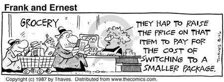 Comic Strip Bob Thaves Tom Thaves  Frank and Ernest 1987-08-26 cash