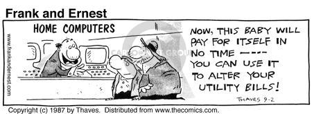 Comic Strip Bob Thaves Tom Thaves  Frank and Ernest 1987-09-02 finance