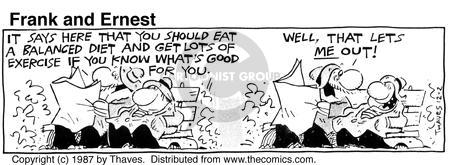 Comic Strip Bob Thaves Tom Thaves  Frank and Ernest 1987-12-02 eat