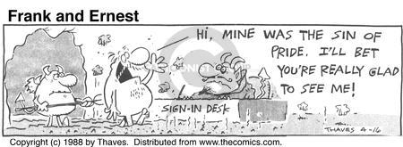 Comic Strip Bob Thaves Tom Thaves  Frank and Ernest 1988-04-16 sign