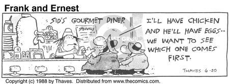 Comic Strip Bob Thaves Tom Thaves  Frank and Ernest 1988-06-20 first meal
