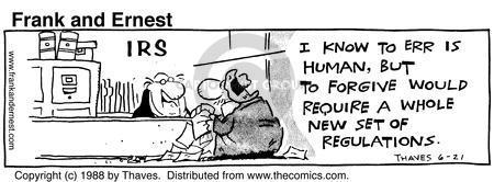Cartoonist Bob Thaves Tom Thaves  Frank and Ernest 1988-06-21 barrier
