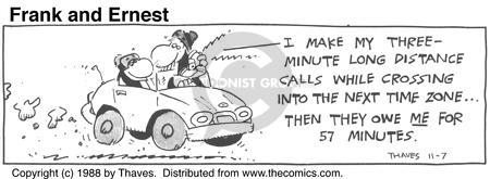 Comic Strip Bob Thaves Tom Thaves  Frank and Ernest 1988-11-07 car phone