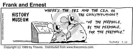 Comic Strip Bob Thaves Tom Thaves  Frank and Ernest 1989-03-23 CIA