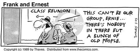 Comic Strip Bob Thaves Tom Thaves  Frank and Ernest 1989-05-25 high school reunion