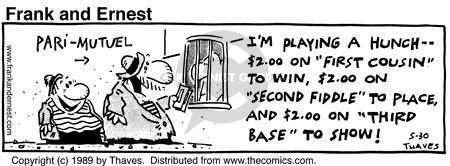 Comic Strip Bob Thaves Tom Thaves  Frank and Ernest 1989-05-30 first base