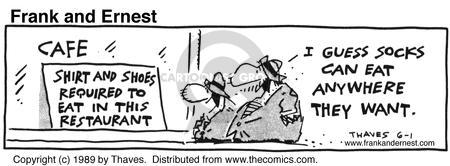 Comic Strip Bob Thaves Tom Thaves  Frank and Ernest 1989-06-01 sign