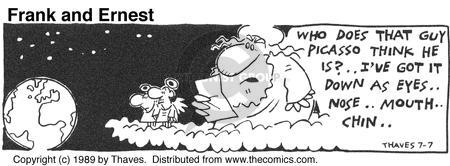 Comic Strip Bob Thaves Tom Thaves  Frank and Ernest 1989-07-07 guy