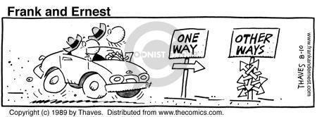 Comic Strip Bob Thaves Tom Thaves  Frank and Ernest 1989-08-10 sign