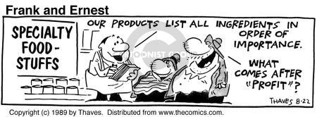 Comic Strip Bob Thaves Tom Thaves  Frank and Ernest 1989-08-22 food label