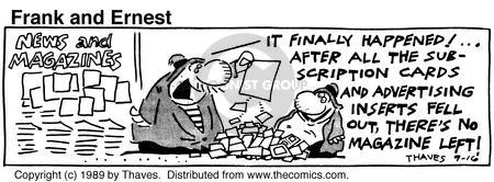 Comic Strip Bob Thaves Tom Thaves  Frank and Ernest 1989-09-16 fill
