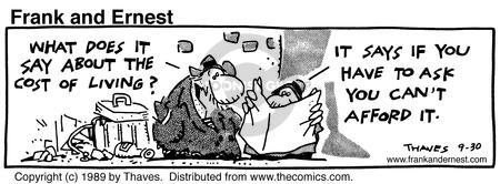 Comic Strip Bob Thaves Tom Thaves  Frank and Ernest 1989-09-30 finance