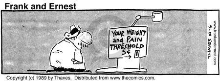 Comic Strip Bob Thaves Tom Thaves  Frank and Ernest 1989-10-06 weight