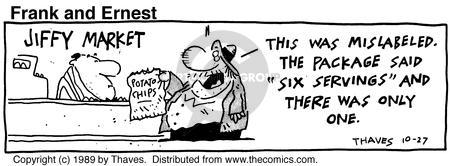 Comic Strip Bob Thaves Tom Thaves  Frank and Ernest 1989-10-27 food quantity