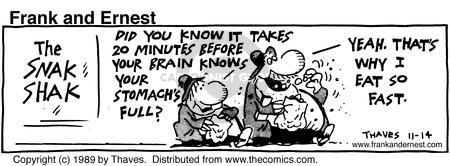 Cartoonist Bob Thaves Tom Thaves  Frank and Ernest 1989-11-14 message