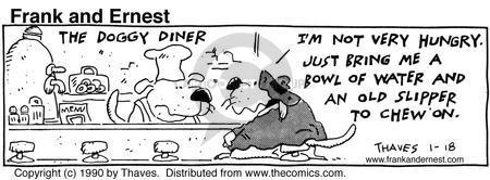 Comic Strip Bob Thaves Tom Thaves  Frank and Ernest 1990-01-18 slipper