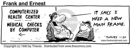 Comic Strip Bob Thaves Tom Thaves  Frank and Ernest 1990-01-20 computer