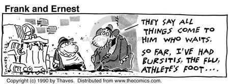 Comic Strip Bob Thaves Tom Thaves  Frank and Ernest 1990-03-22 flu