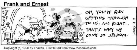 Cartoonist Bob Thaves Tom Thaves  Frank and Ernest 1990-04-13 message