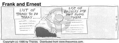Comic Strip Bob Thaves Tom Thaves  Frank and Ernest 1990-06-08 procrastinate
