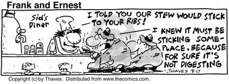 Comic Strip Bob Thaves Tom Thaves  Frank and Ernest 1990-09-17 eat