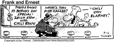 Comic Strip Bob Thaves Tom Thaves  Frank and Ernest 1991-03-16 eat