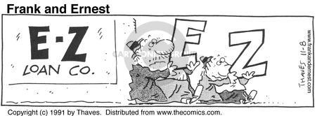 Cartoonist Bob Thaves Tom Thaves  Frank and Ernest 1991-11-08 money