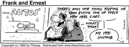 Comic Strip Bob Thaves Tom Thaves  Frank and Ernest 1992-01-11 buying car