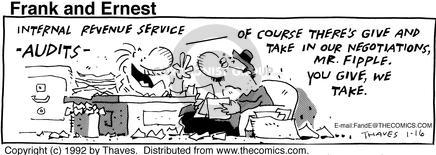 Comic Strip Bob Thaves Tom Thaves  Frank and Ernest 1992-01-16 tax