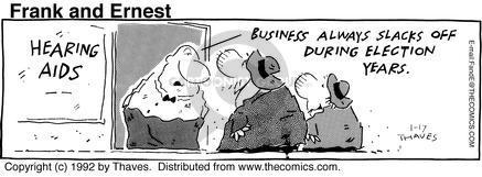 Comic Strip Bob Thaves Tom Thaves  Frank and Ernest 1992-01-17 deaf