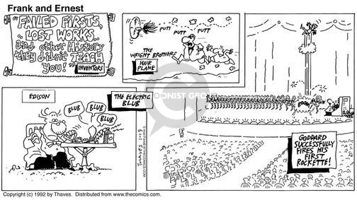 Cartoonist Bob Thaves Tom Thaves  Frank and Ernest 1992-01-19 fire