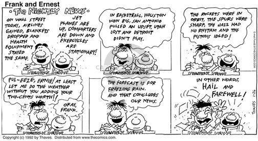 Comic Strip Bob Thaves Tom Thaves  Frank and Ernest 1992-01-26 blanket