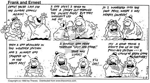 Cartoonist Bob Thaves Tom Thaves  Frank and Ernest 1992-02-09 good