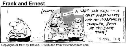 Cartoonist Bob Thaves Tom Thaves  Frank and Ernest 1992-02-19 inferior