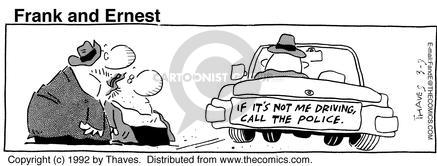 Comic Strip Bob Thaves Tom Thaves  Frank and Ernest 1992-03-09 police car