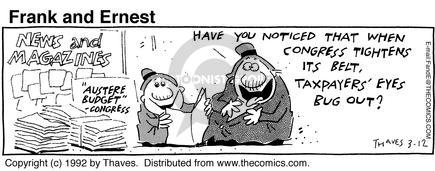 Comic Strip Bob Thaves Tom Thaves  Frank and Ernest 1992-03-12 tax