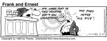 Comic Strip Bob Thaves Tom Thaves  Frank and Ernest 1992-03-20 rise