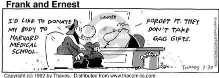 Comic Strip Bob Thaves Tom Thaves  Frank and Ernest 1992-03-30 law school