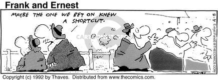 Comic Strip Bob Thaves Tom Thaves  Frank and Ernest 1992-04-08 race