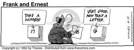Comic Strip Bob Thaves Tom Thaves  Frank and Ernest 1992-04-15 letter